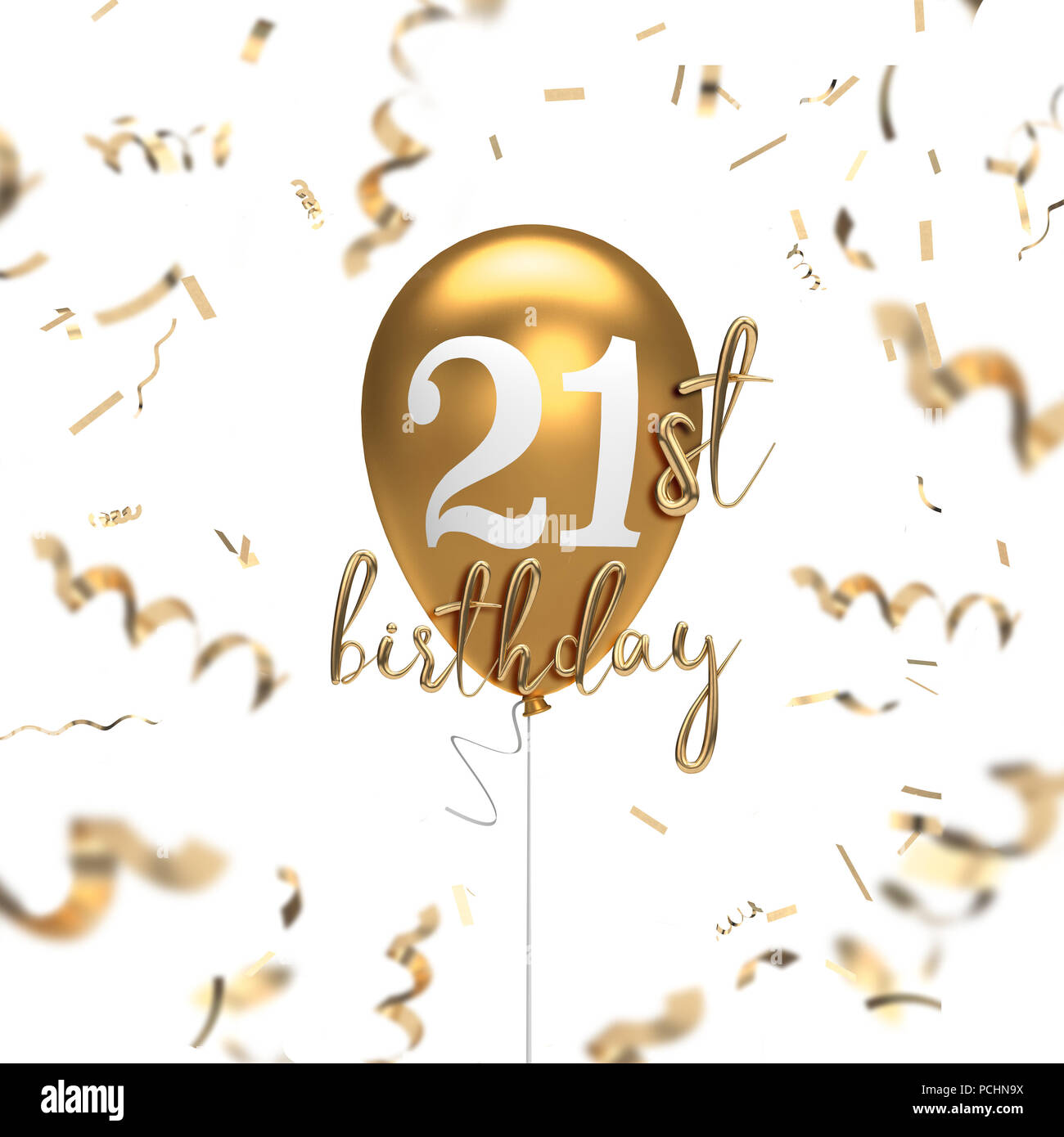 Happy 21st birthday gold balloon greeting background. 3D Rendering