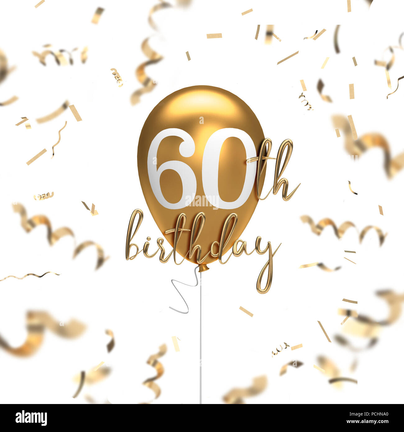 happy 60th birthday gold balloon greeting background 3d rendering