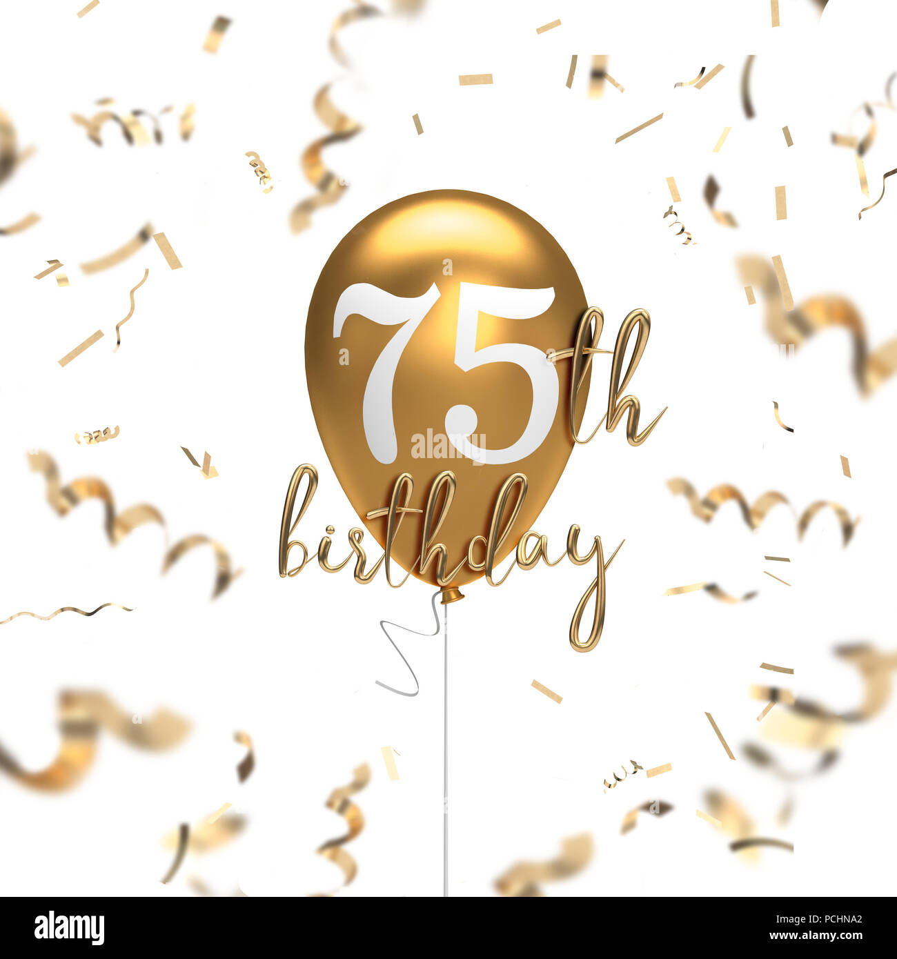 Happy 75th Birthday Gold Balloon Greeting Background 3D Rendering