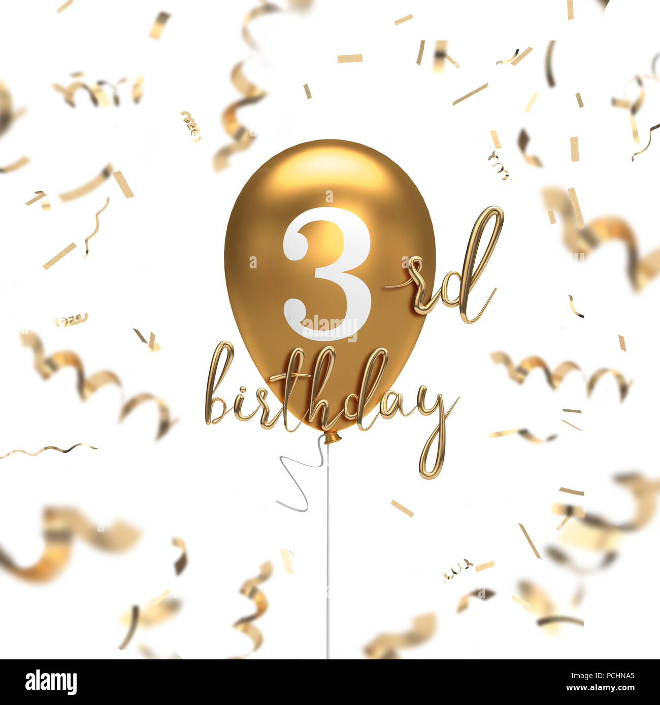 Happy 3rd Birthday Gold Balloon Greeting Background 3D Rendering