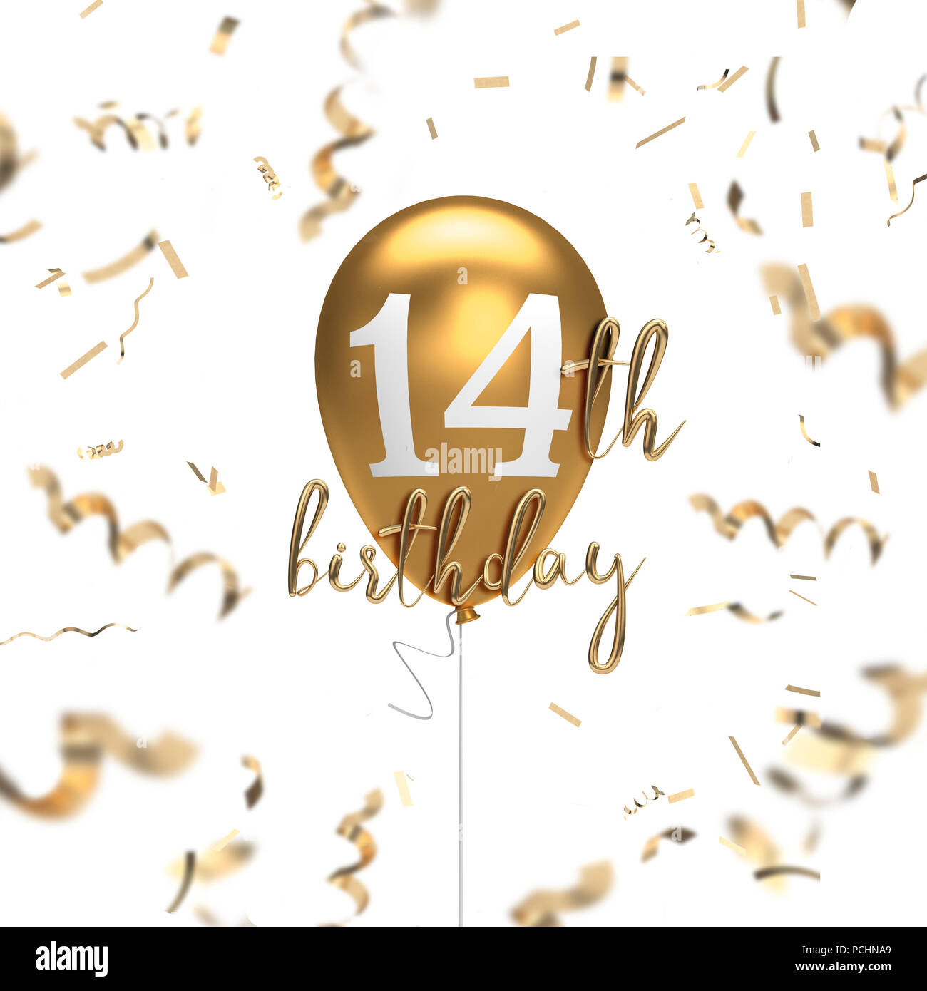 happy 14th birthday gold balloon greeting background  3d