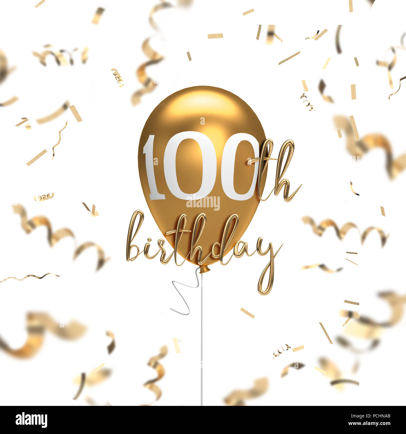 Happy 100th Birthday Gold Balloon Greeting Background 3D Rendering