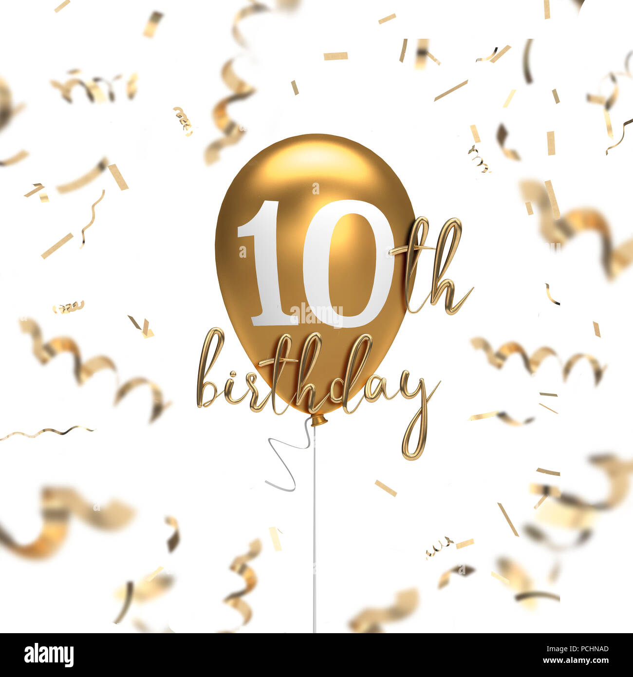 Happy 10th Birthday Gold Balloon Greeting Background 3d