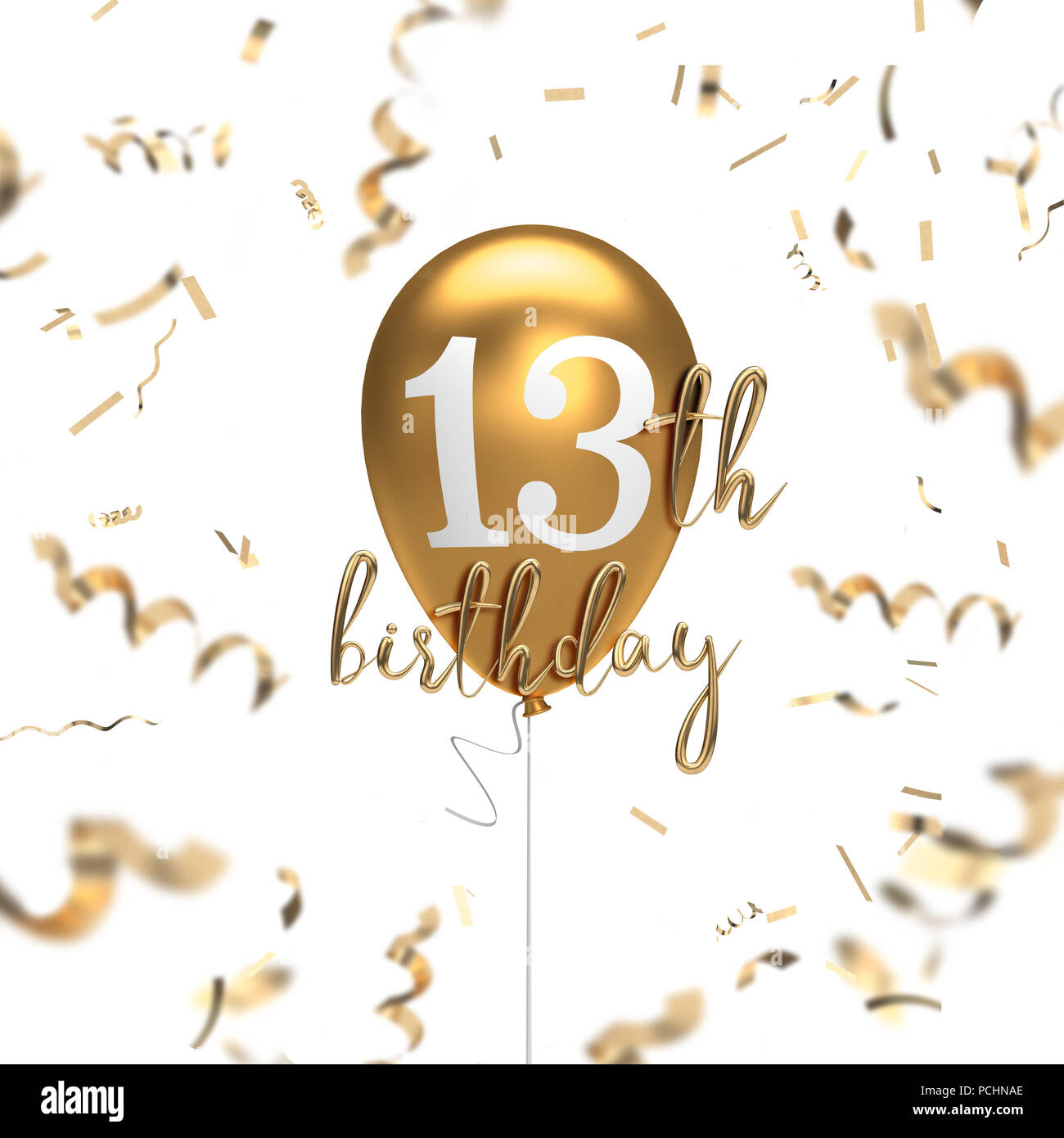 Happy 13th Birthday Gold Balloon Greeting Background 3D Rendering