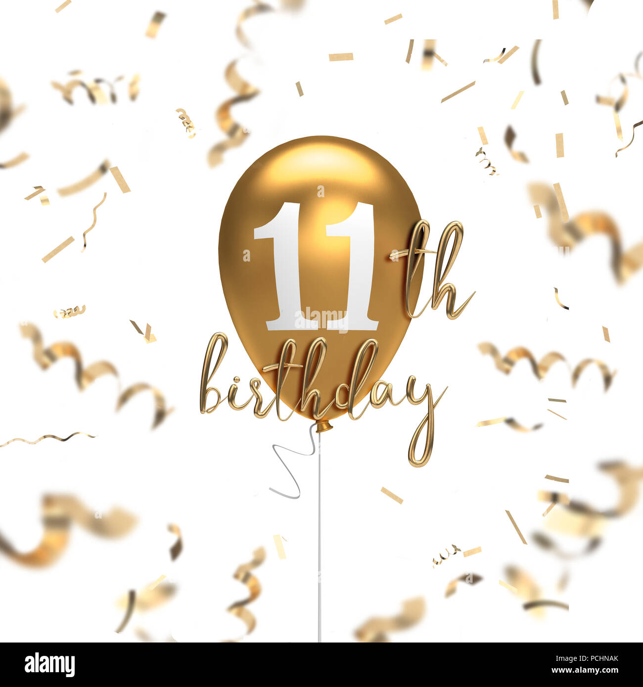 Happy 11th Birthday Gold Balloon Greeting Background 3D Rendering