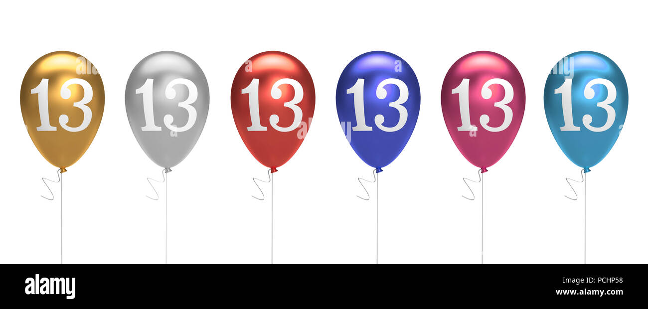 Number 13 Birthday Balloons Collection Gold Silver Red Blue Pink 3D Rendering