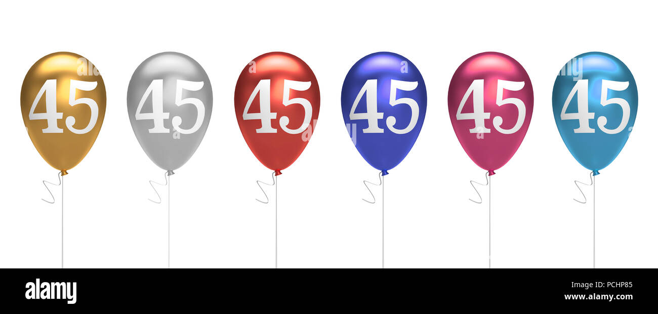 Number 45 Birthday Balloons Collection Gold Silver Red Blue Pink 3D Rendering