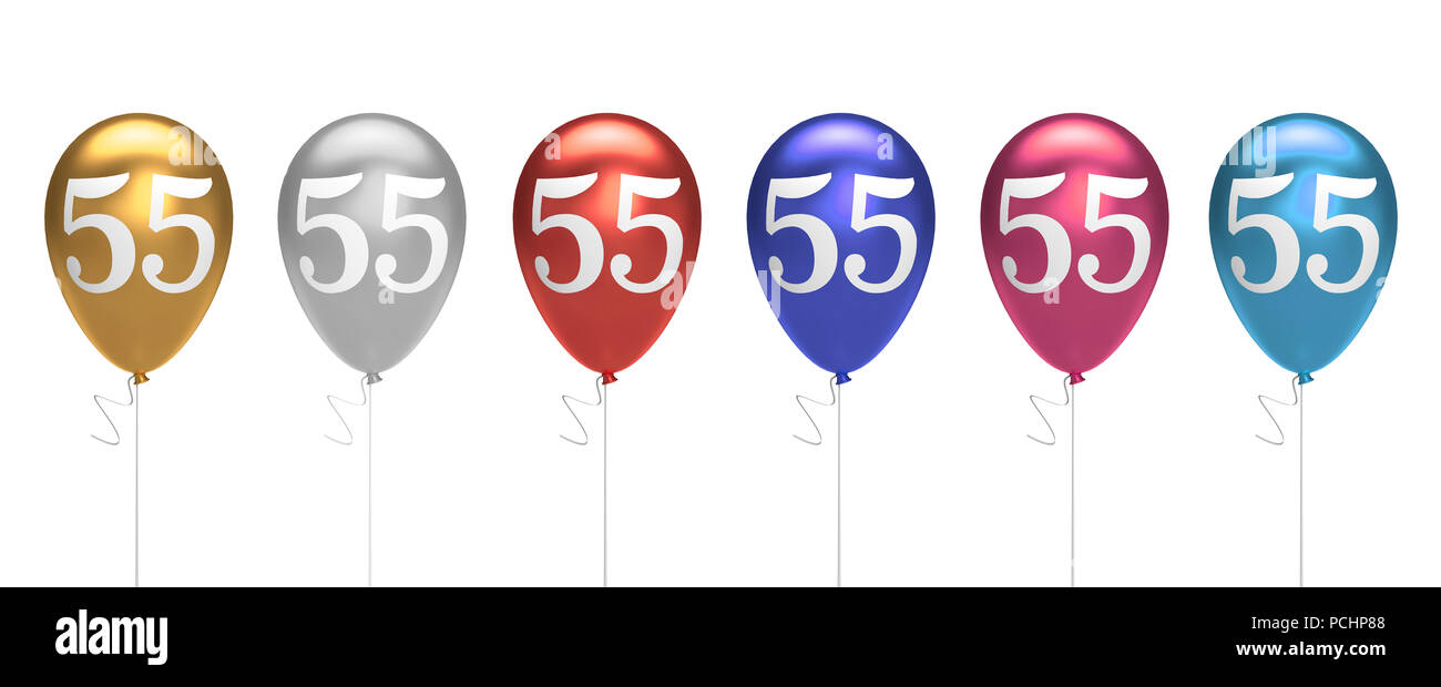 Number 55 Birthday Balloons Collection Gold Silver Red Blue Pink 3D Rendering