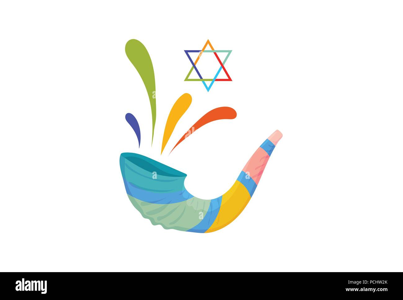 Vector Illustration For Yom Kippur And Rosh Hashanah Shofar Or Yom