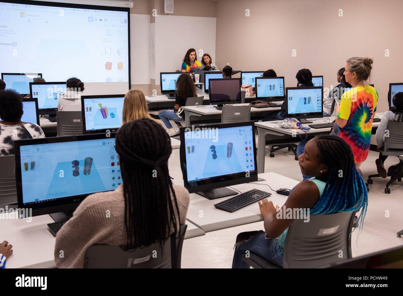 Attendees from the seventh annual Girls Day Out (GDO) learn about 3D