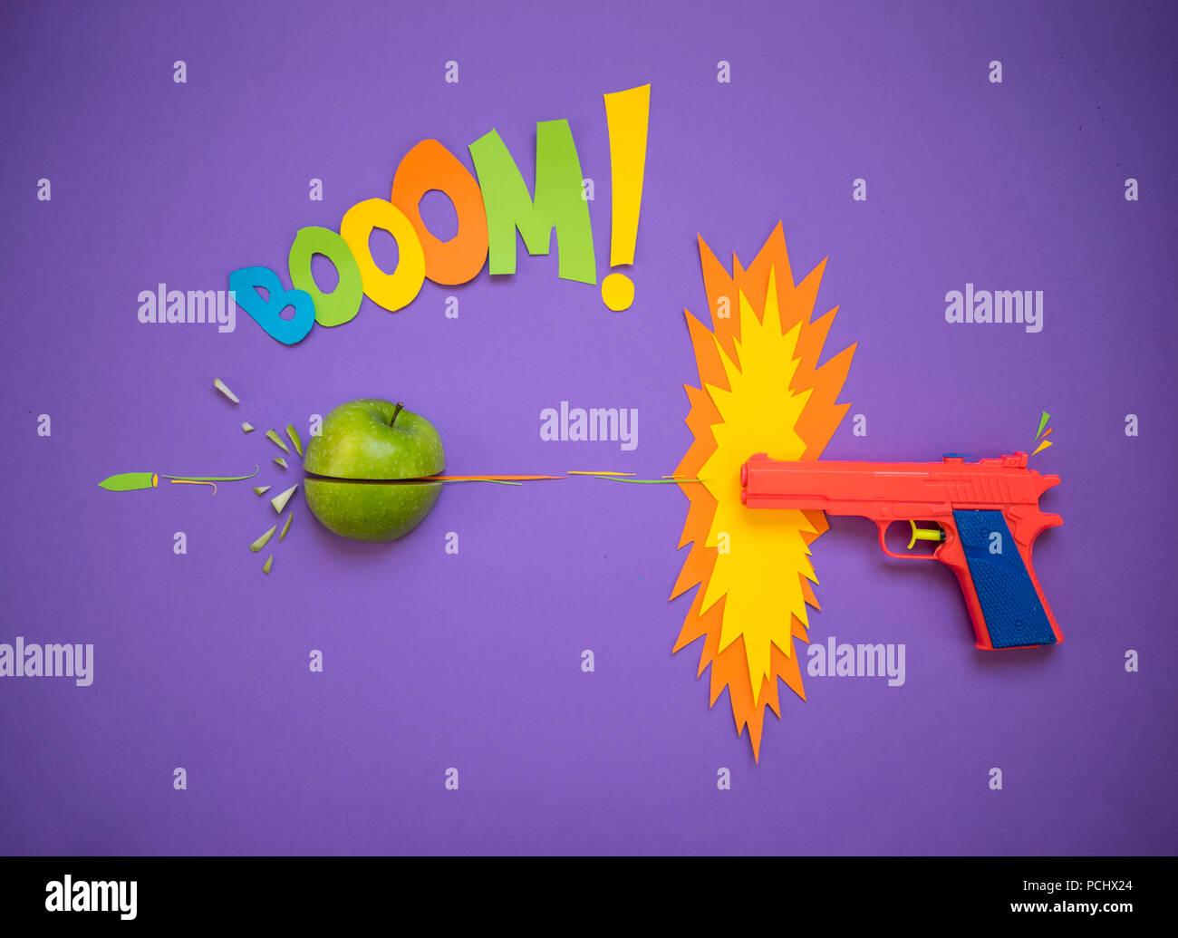 handgun,comic,booom! - Stock Image
