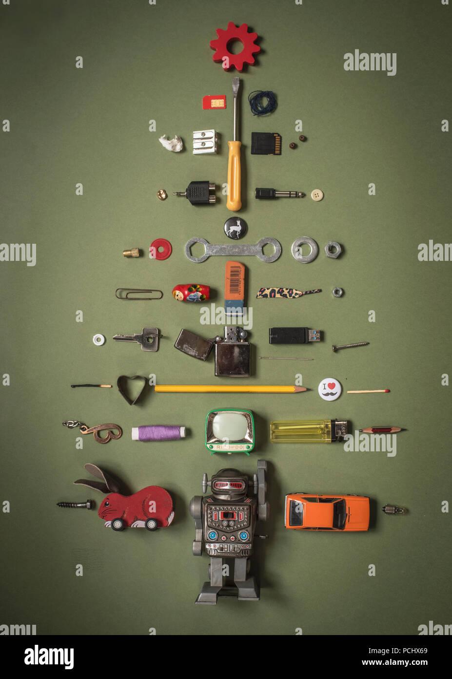 system,organization,humor,bizarre,christmas tree - Stock Image