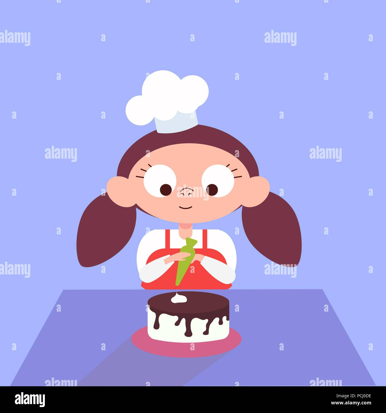Girl decorating chocolate cake in the kitchen - Stock Vector