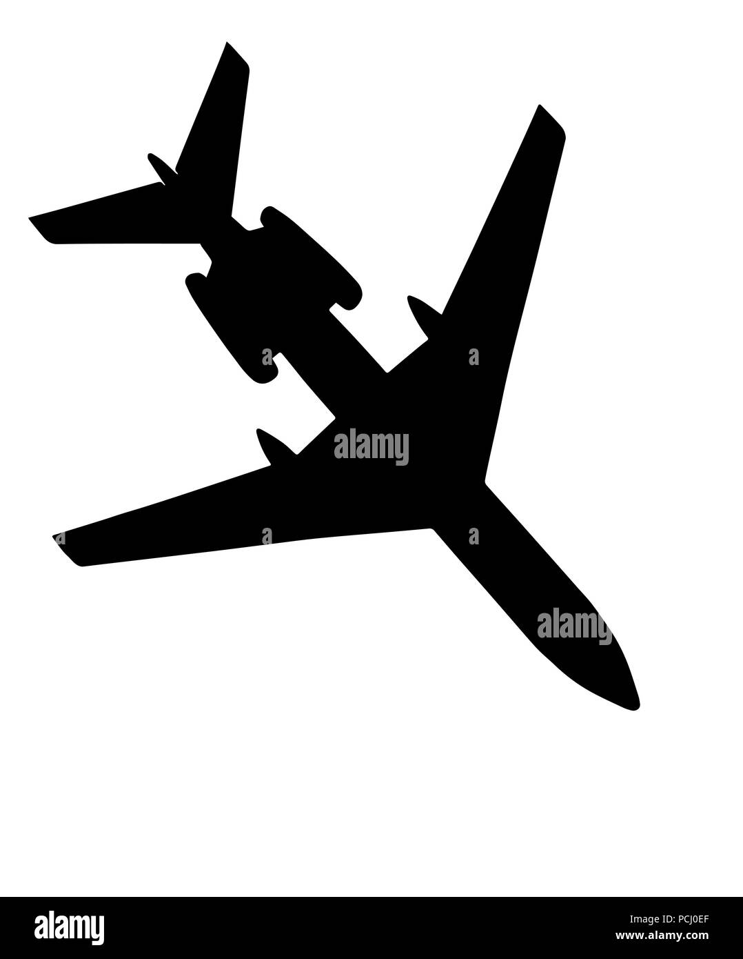 flying airliner; silhouette on white - Stock Vector