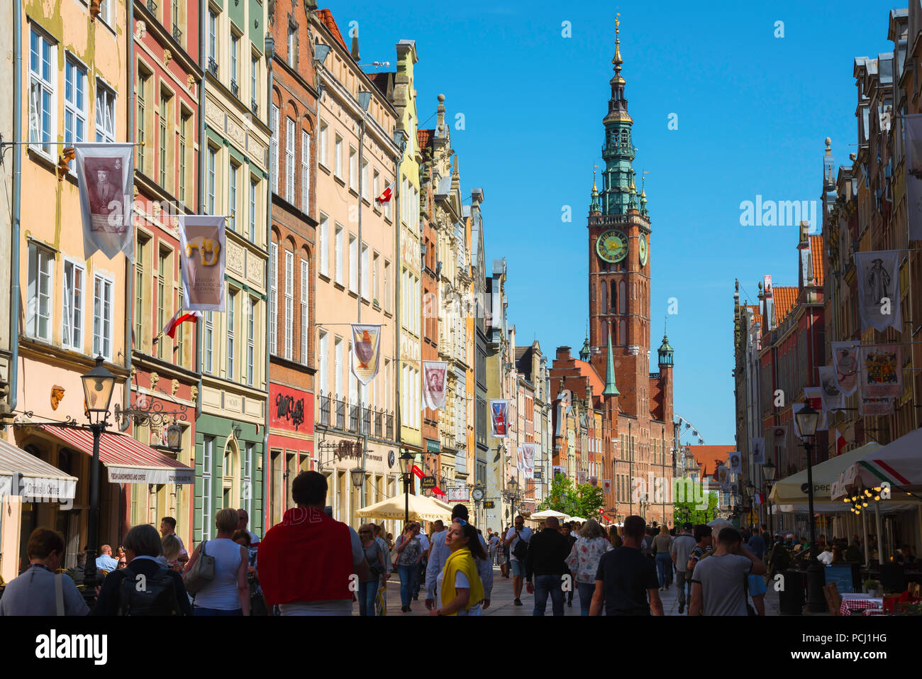 Gdansk Poland Street, view along the Royal Way - the main street in the center of Gdansk - looking towards the Town Hall tower, Pomerania, Poland. - Stock Image