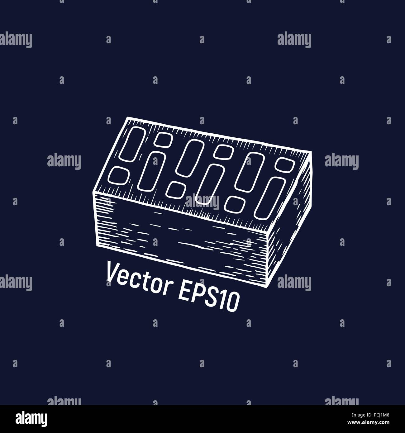 Brick vector illustration. Hand drawn work tool equipment. - Stock Vector