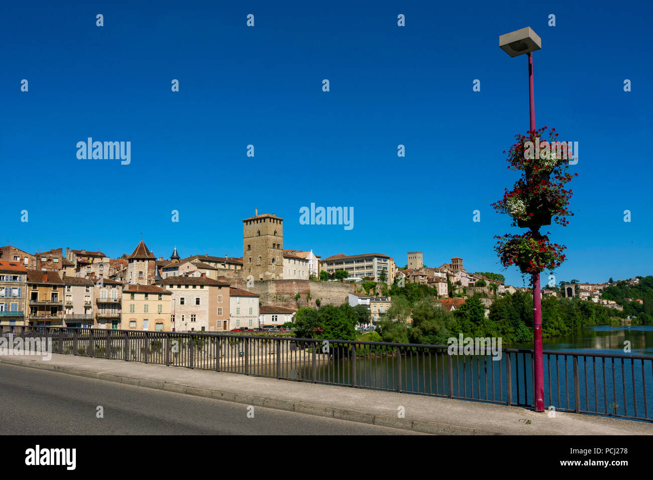 City of Cahors and river Lot, Lot department, Occitanie, France Stock Photo
