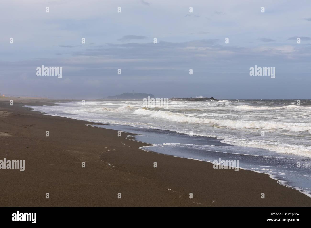 Chigasaki beach, Enoshima; Chigasaki, Kanagawa Prefecture, Japan - Stock Image