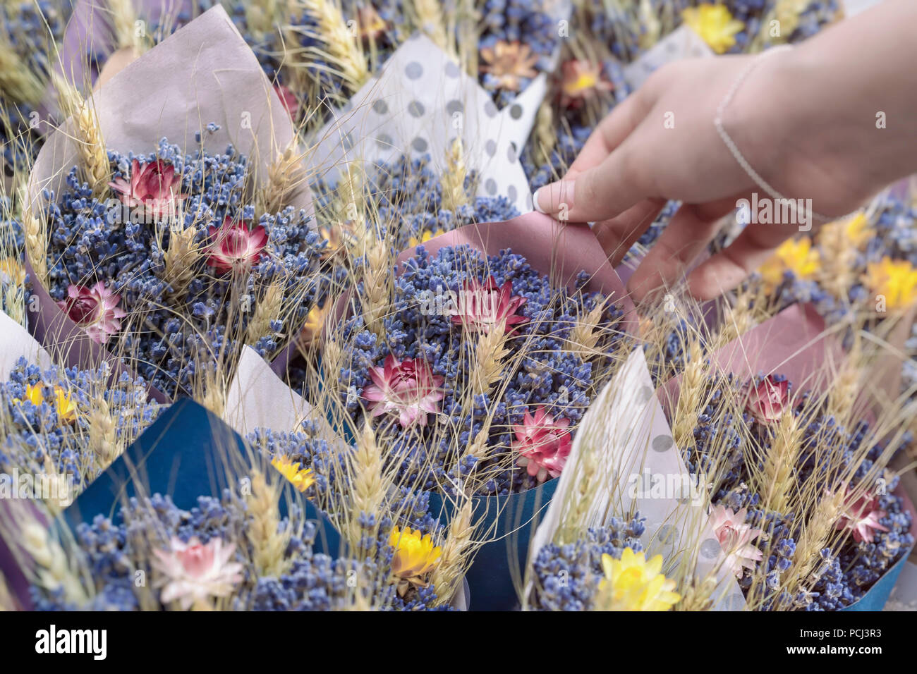 Bouquets of wild meadow flowers dried flowers handmade flower fair bouquets of wild meadow flowers dried flowers handmade flower fair and female hand of florist izmirmasajfo