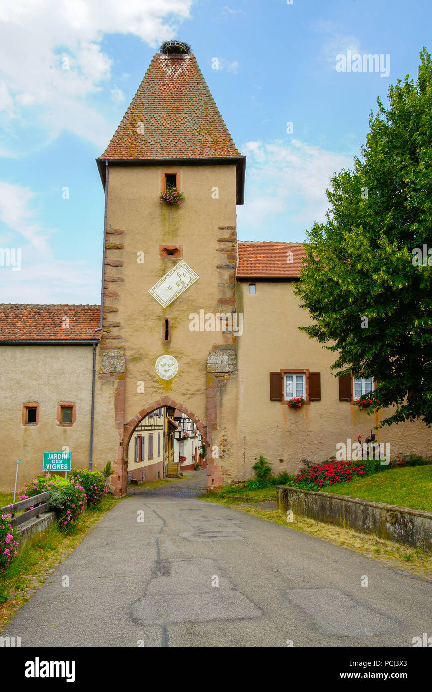 Obertor, old gate tower with a stork nest on top,, Ammerschwihr, Alsace, France, Stock Photo