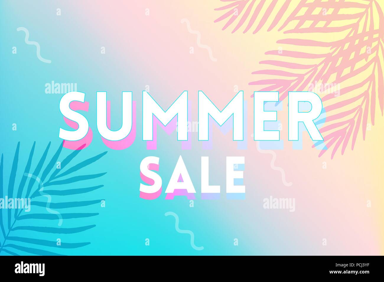Hot Summer Sale banner. Trendy texture. Season vocation, weekend, holiday logo. Summer Time Wallpaper. Happy shiny Day. Modern vector Lettering. Fashionable styling. - Stock Vector