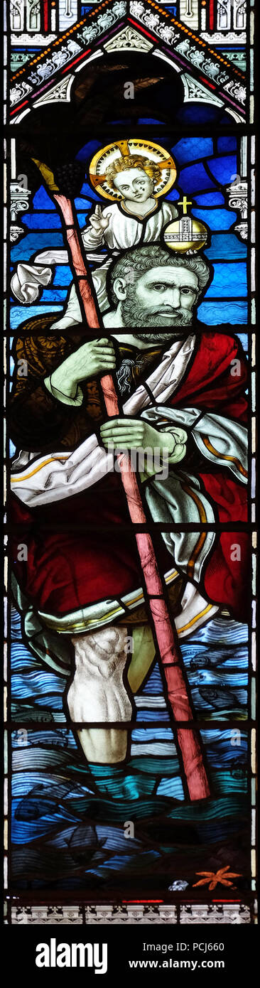 Saint Christopher, stained glass window in the American Cathedral Church of the Holy Trinity in Paris, France Stock Photo