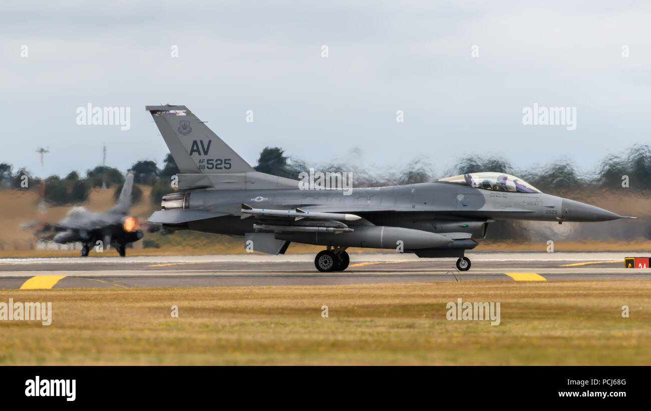RAF Lakenheath, Suffolk, England on July 30 2018. United States Air Force F-16 Eagle jet aircraft deployed from Aviano Air Base in Italy - Stock Image