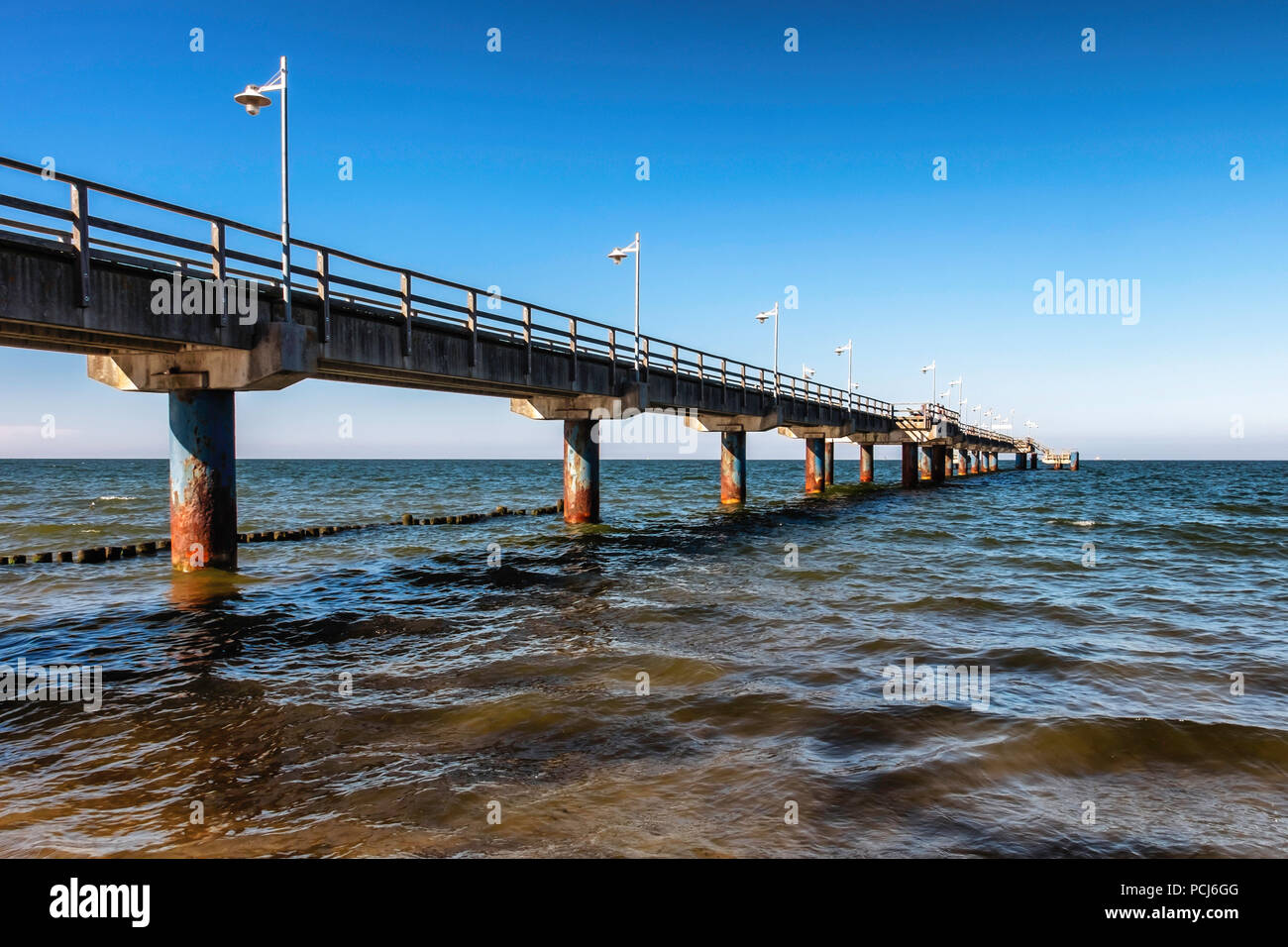 Bansin beach pier at the Baltic sea resort on Usedom Island , Heringsdorf, Germany - Stock Image
