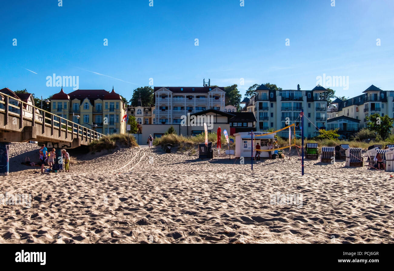 The end of a hot day. Closed beach huts  & hotels at Basin Beach - Baltic sea resort on Usedom Island , Heringsdorf, Germany Bansin beach is the weste - Stock Image