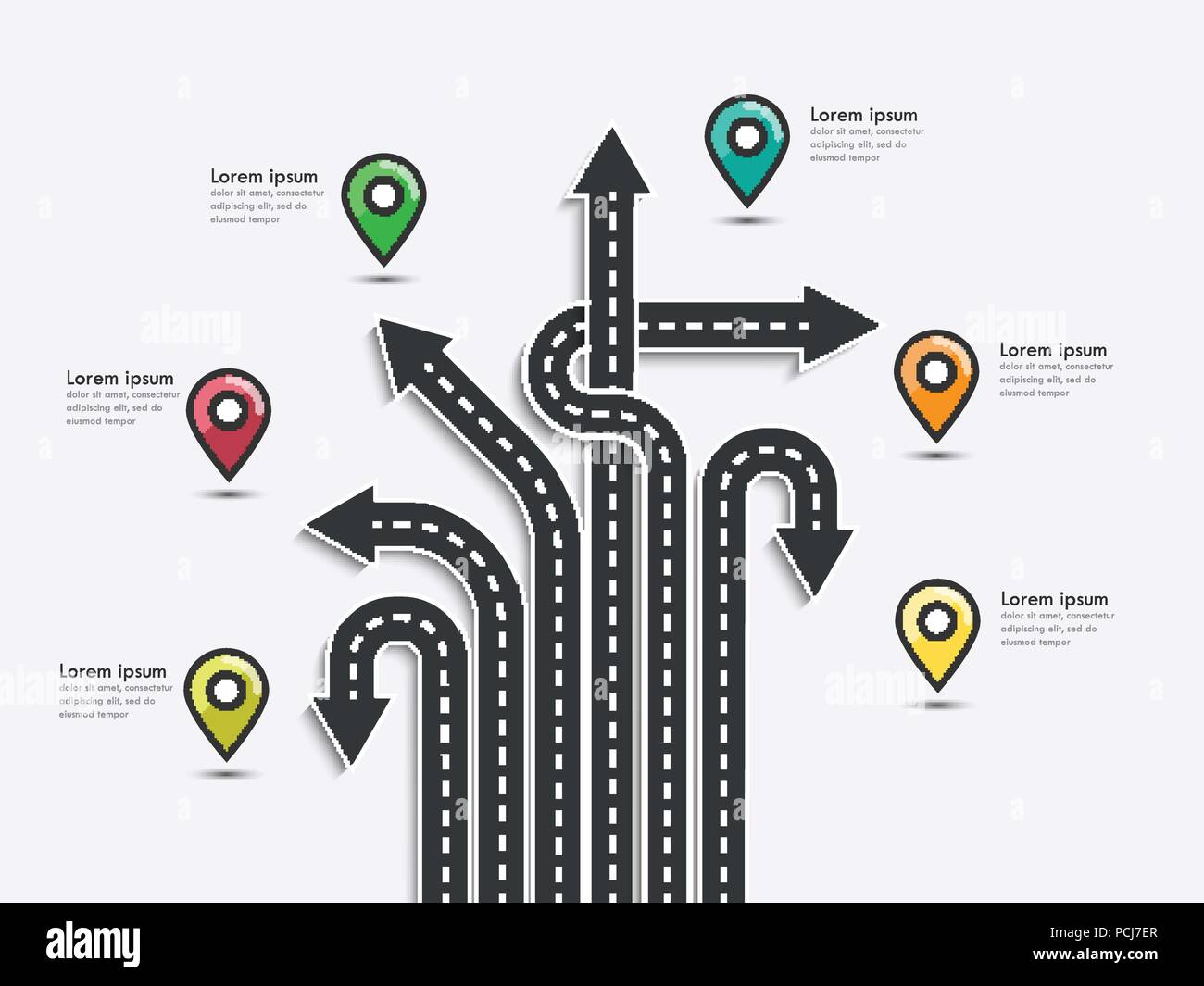arrow road map of business and journey infographic design template