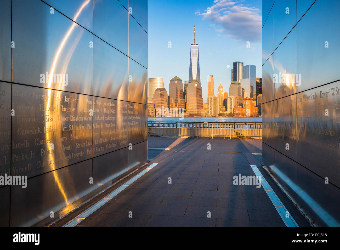 Empty Sky, September 11 memorial at sunset, Liberty State Park, New Jersey - Stock Image