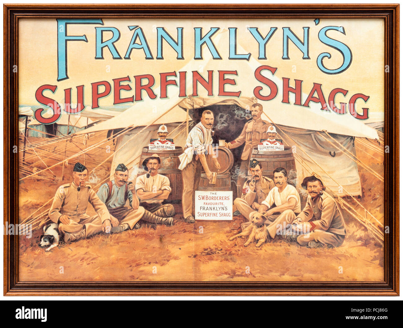 Framed advertising poster for 'Franklyn's Superfine Shagg' tobacco - Stock Image