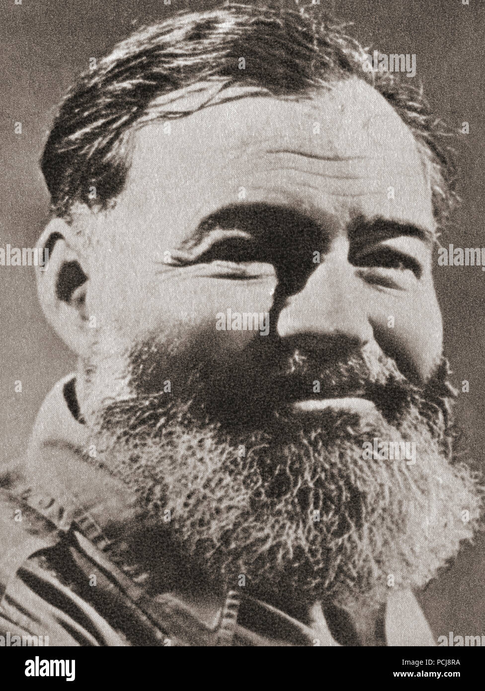 Ernest Miller Hemingway, 1899 – 1961. American novelist, short story writer, journalist and winner of the Nobel Prize in Literature,1954.  After a contemporary print. - Stock Image