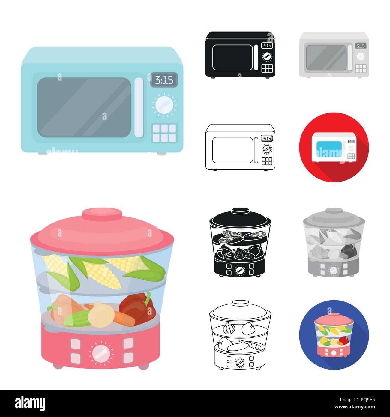 Types of household appliances cartoon,black,flat,monochrome,outline ...
