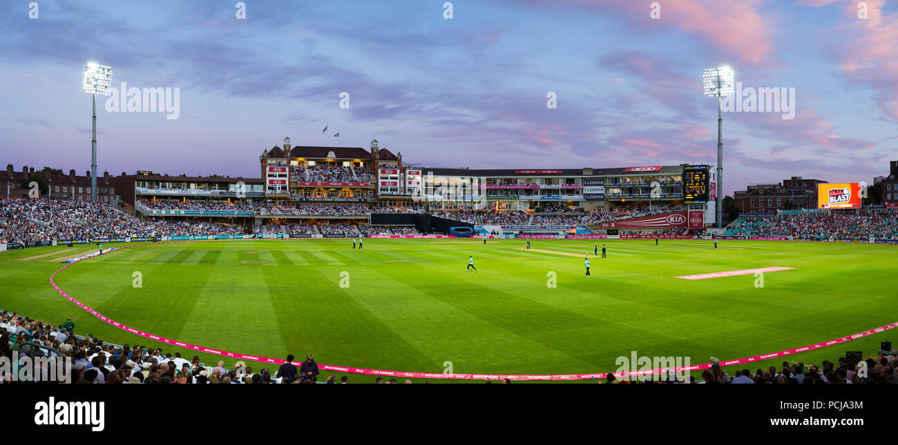 The Micky Stewart Members' Pavilion overlooking 20 20 day night match and the cricket pitch / wicket of The Oval cricket ground (The Kia Oval) Vauxhall, London. UK. (100) - Stock Image