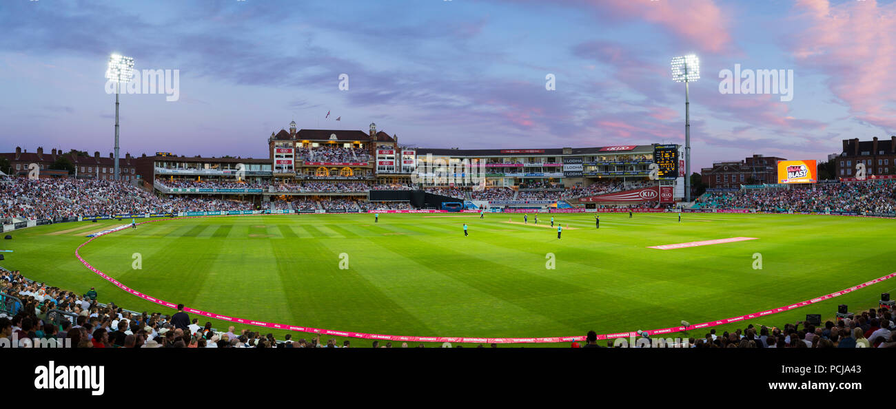 The Micky Stewart Members' Pavilion overlooking 20 20 day night match and the cricket pitch / wicket of The Oval cricket ground (The Kia Oval) Vauxhall, London. UK. (100) Stock Photo