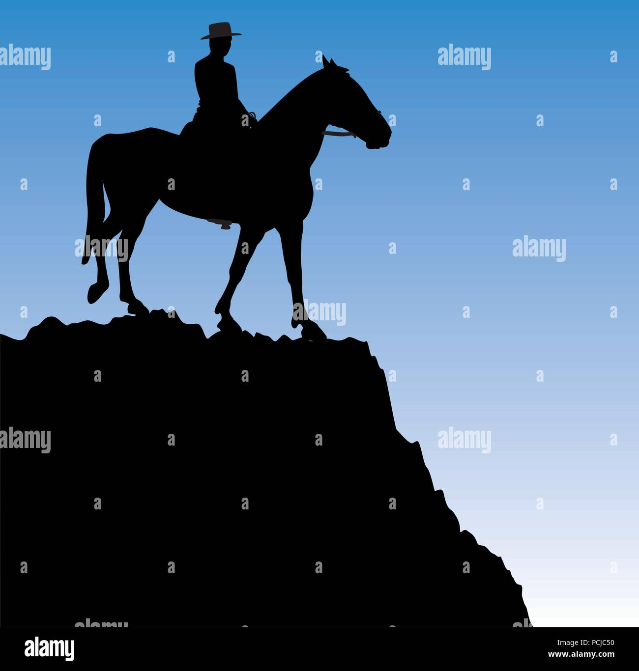 Vector Illustration Of Man On The Horse On Top Of The Mountain Stock Vector Image Art Alamy