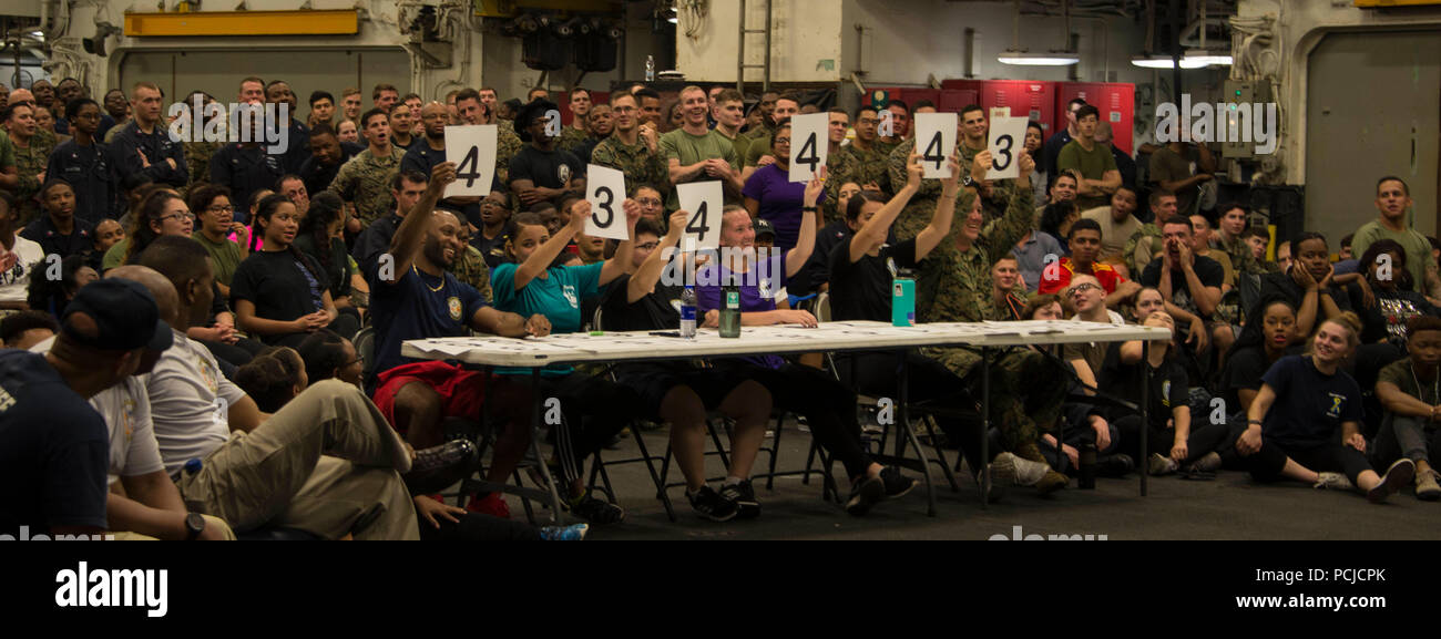 180729-N-ZK016-0040  ATLANTIC OCEAN (July 29, 2018) Judges cast their vote during a talent show in the hangar bay aboard the Wasp-class amphibious assault ship USS Iwo Jima (LHD 7), July 29, 2018. Iwo Jima, homeported in Mayport, Florida, is conducting naval operations in the U.S. 6th Fleet area of operations in support of U.S. national security interests in Europe and Africa. (U.S. Navy photo by Mass Communication Specialist 3rd Class Joe J. Cardona Gonzalez/Released) Stock Photo