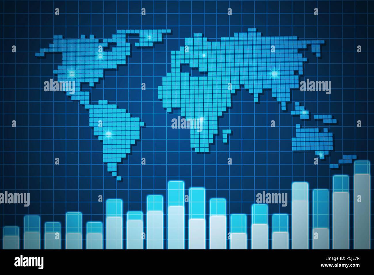 Blue screen digital world map and volump chart on grid background blue screen digital world map and volump chart on grid background illustration gumiabroncs Choice Image