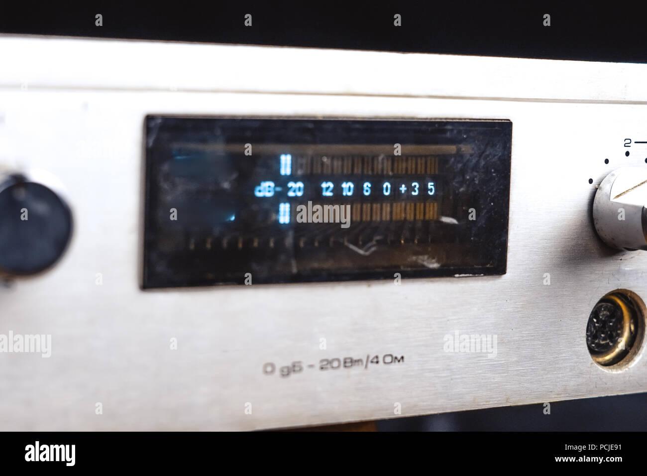 old Soviet audio amplifier, volume controls closeup Stock Photo