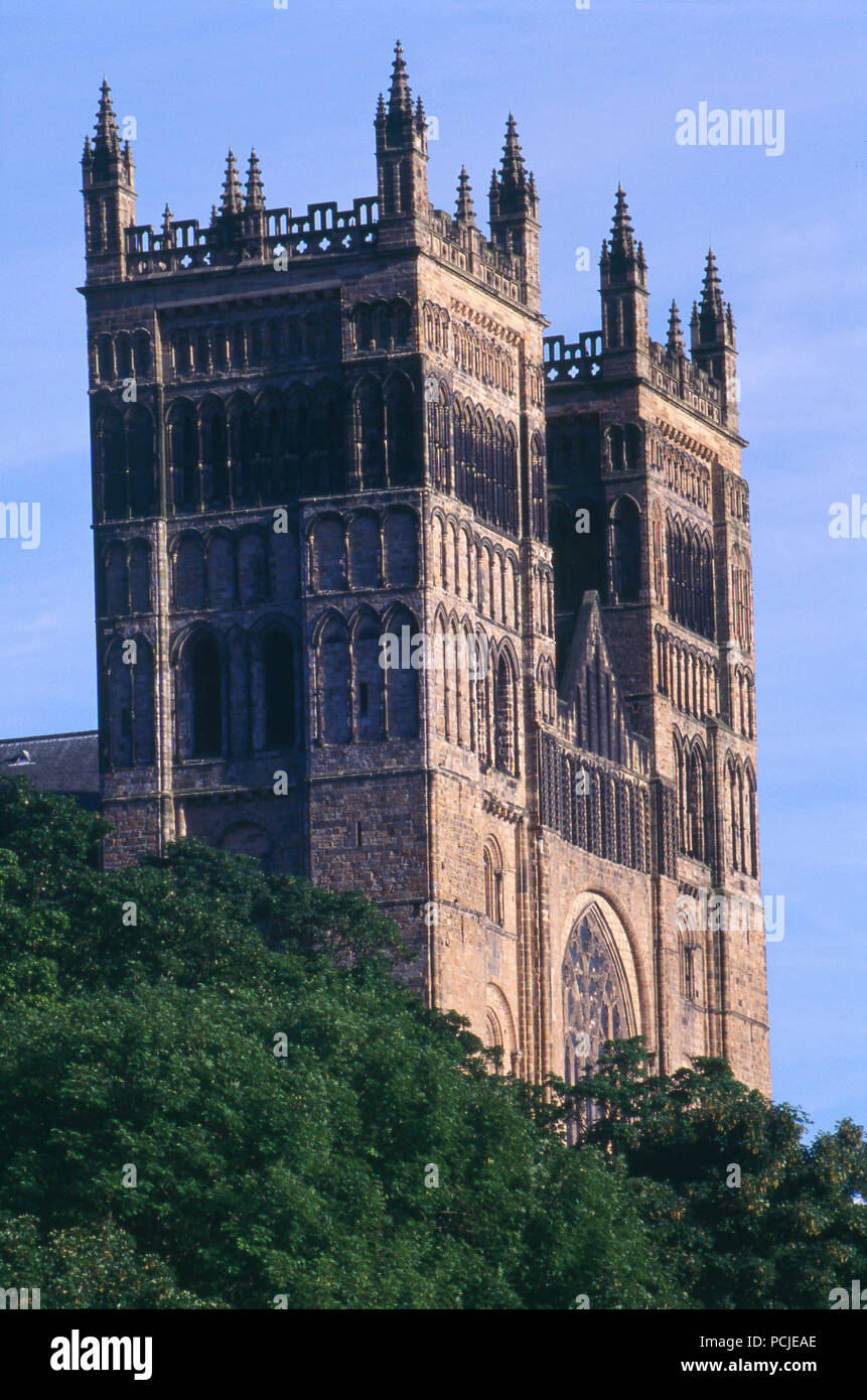 Durham Cathedral over the River Wear, Durham, England. Photograph - Stock Image
