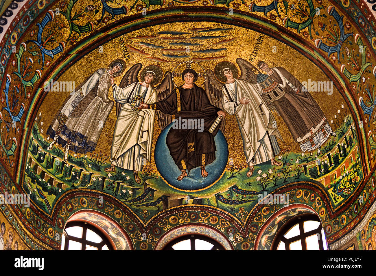 Depicting Christ as creator of the cosmos in Basilica of San Vitale 547 AD 6th Century in Ravenna - Mosaics ( late Roman and Byzantine architecture,) Emilia-Romagna - Northern Italy. ( UNESCO World Heritage site ) - Stock Image