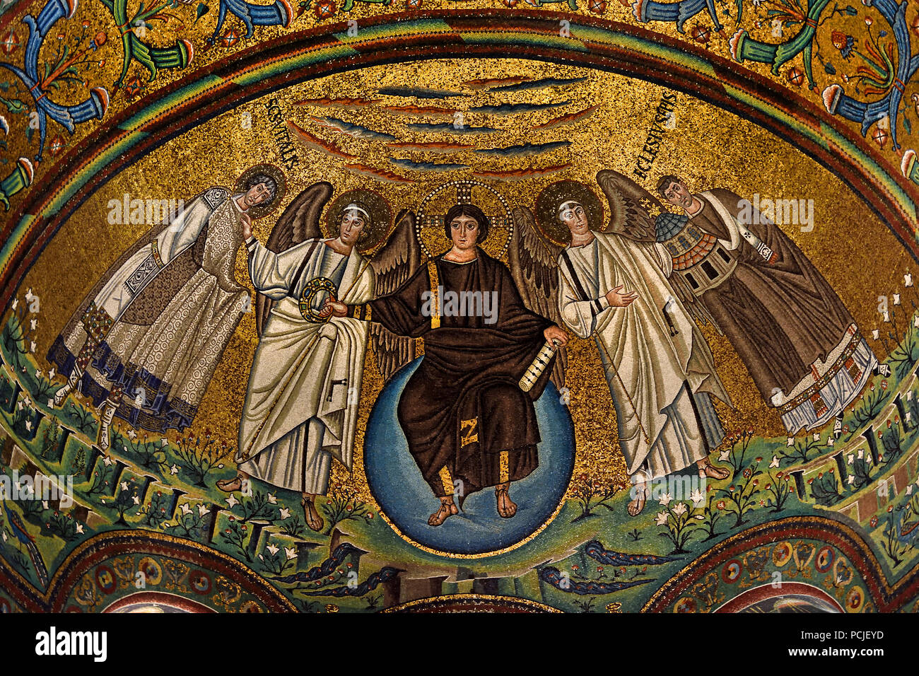 Depicting Christ as creator of the cosmos in Basilica of San Vitale 547 AD 6th Century in Ravenna - Mosaics ( late Roman and Byzantine architecture,) Emilia-Romagna - Northern Italy. ( UNESCO World Heritage site ) Italian - Stock Image