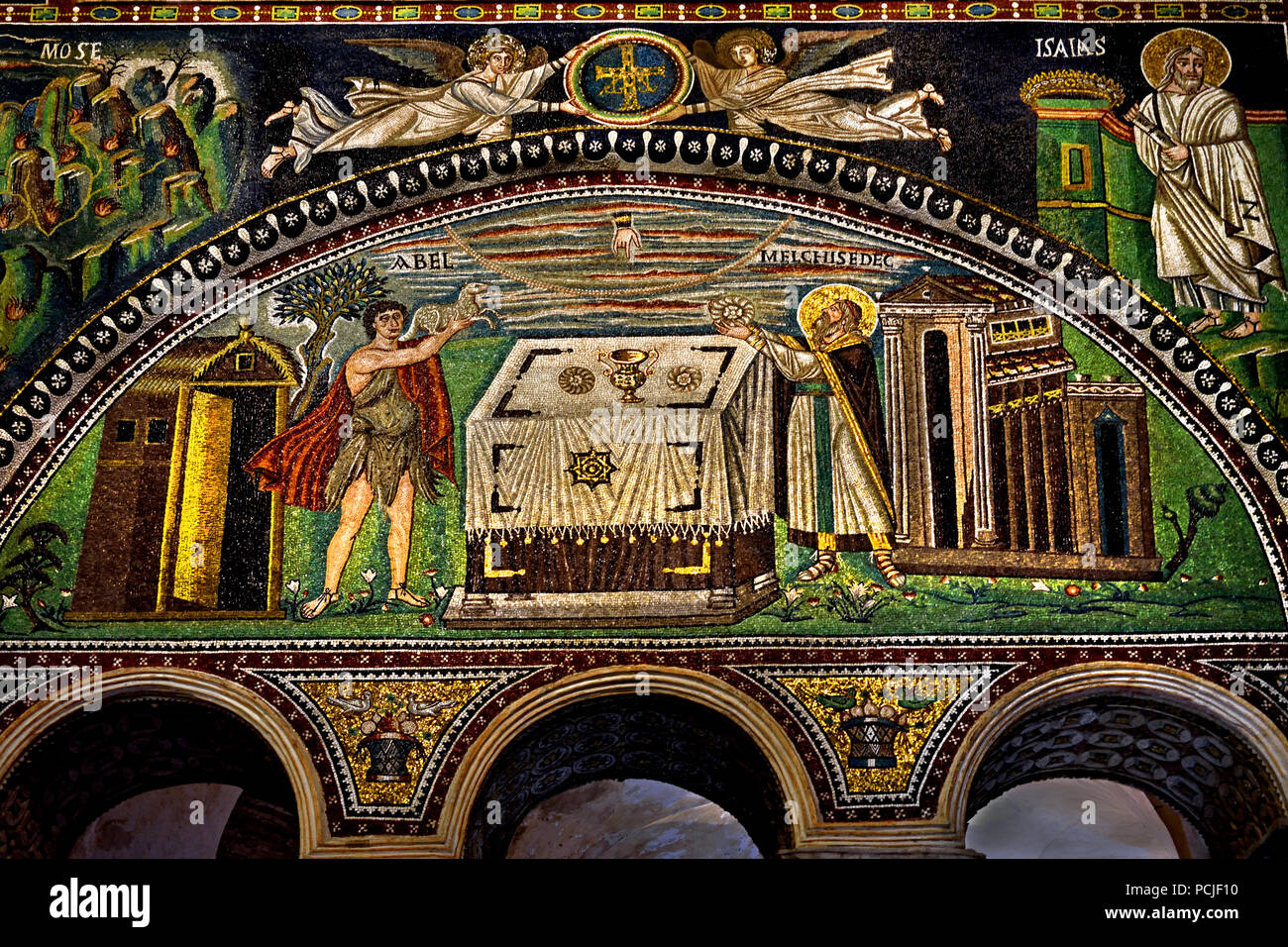 Sacrifice of Abel and Melchisedek in the Basilica of San Vitale 547 AD 6th Century in Ravenna - Mosaics ( late Roman and Byzantine architecture,) Emilia-Romagna - Northern Italy. ( UNESCO World Heritage site ) - Stock Image