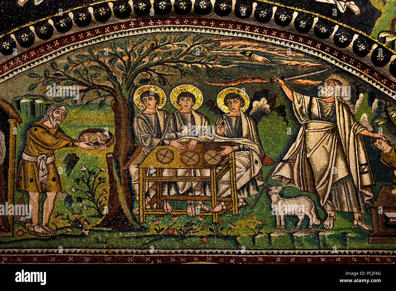 Sacrifice of Isaac mosaic in the Basilica of San Vitale 547 AD 6th Century in Ravenna - Mosaics ( late Roman and Byzantine architecture,) Emilia-Romagna - Northern Italy. ( UNESCO World Heritage site ) God asks Abraham to sacrifice his son - Stock Image