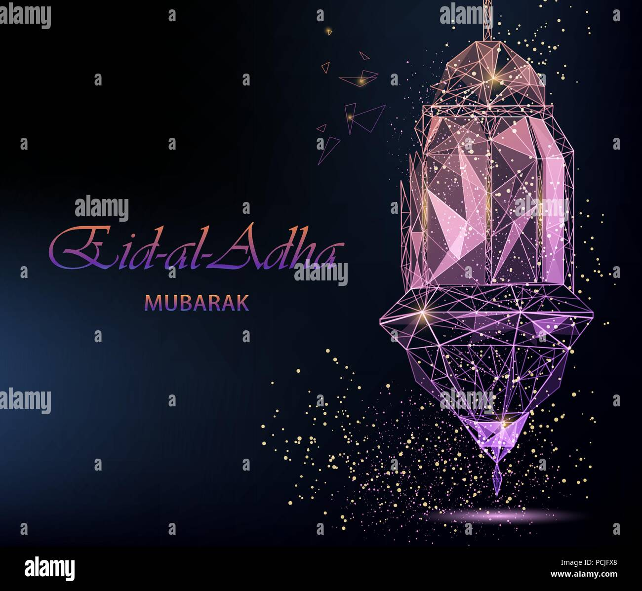 Eid Al Adha Bright Greeting Card With Traditional Arabic Lantern