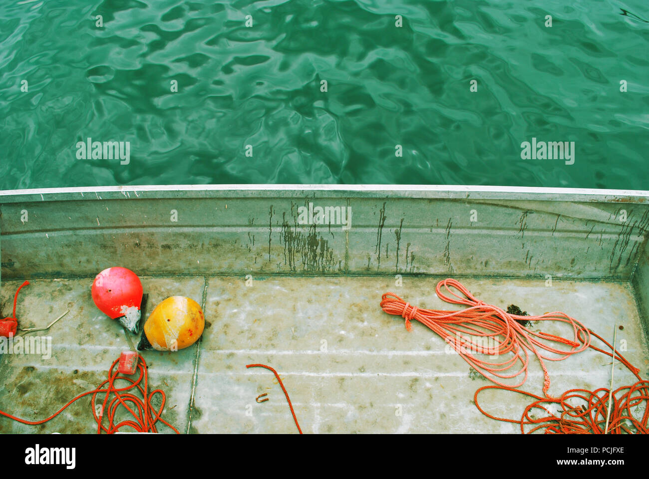 boat,rope,floats - Stock Image