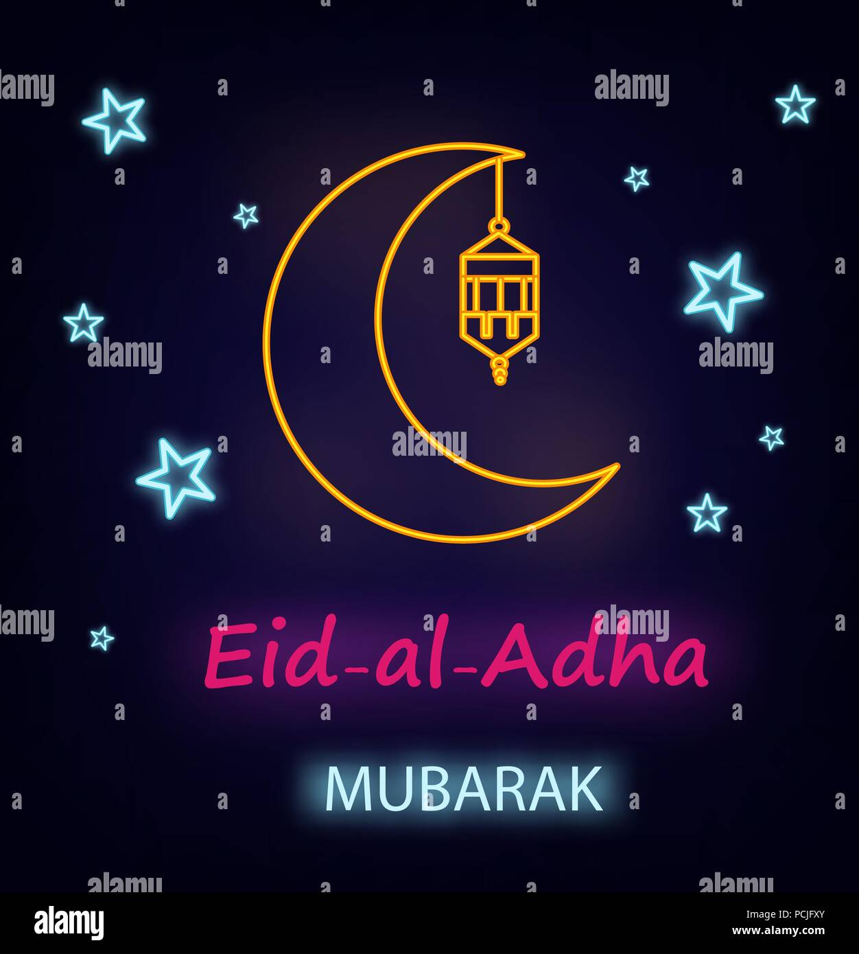 Eid Al Adha Greeting Card With Line Lantern Moon And Stars Neon