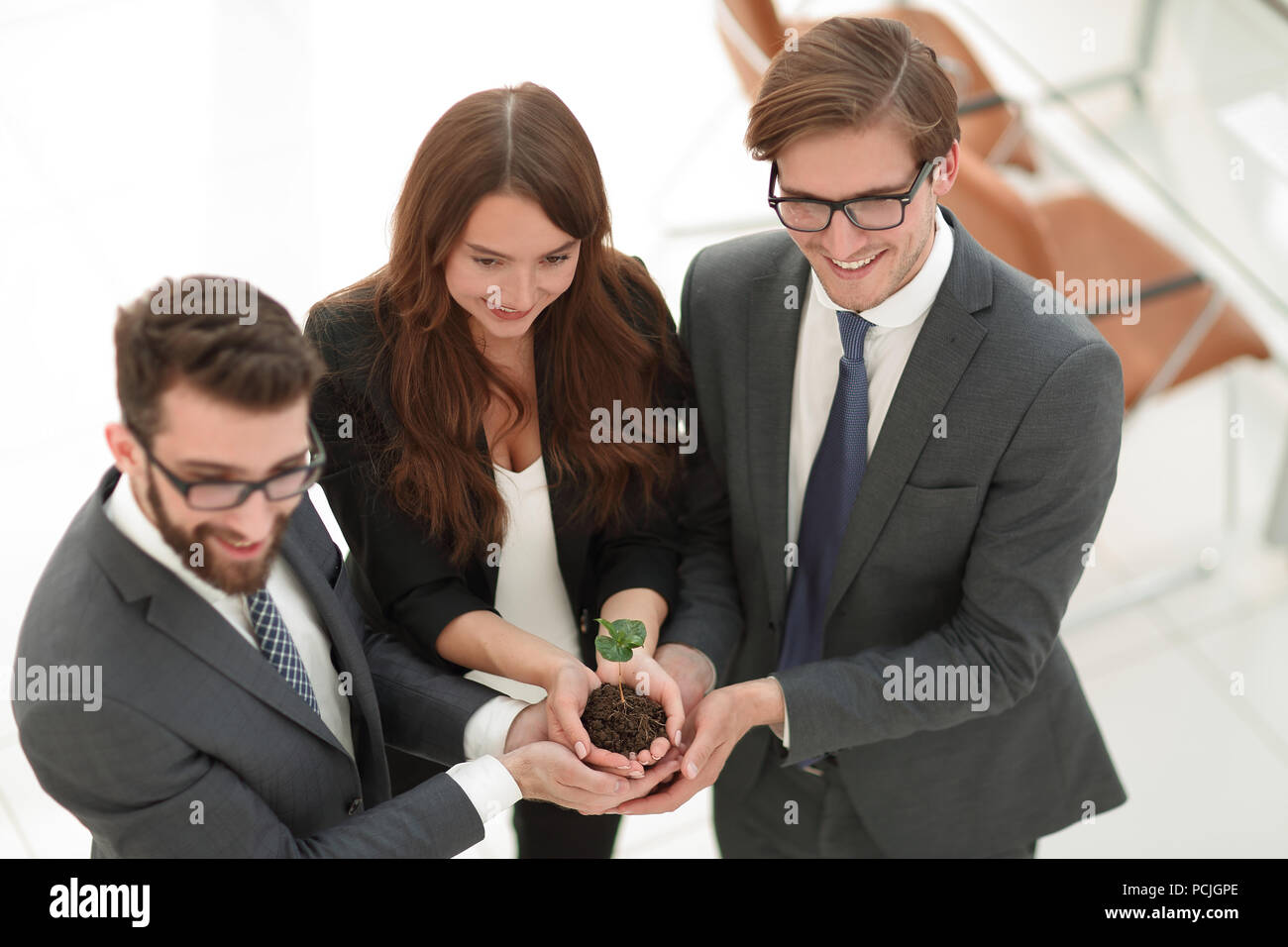business team protecting hands, small sprout Stock Photo