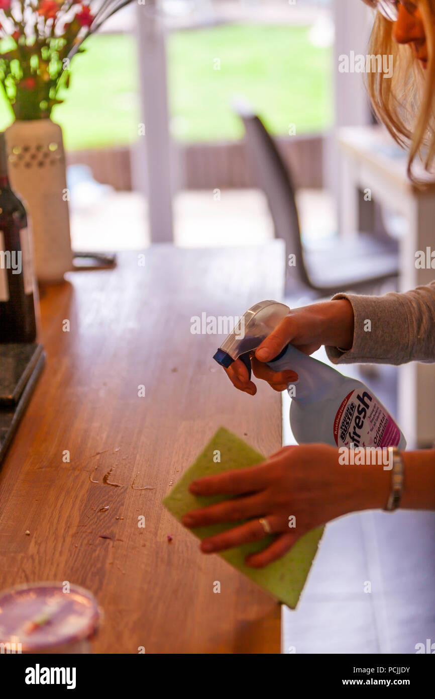 Disinfecting, cleaning, wiping, cleaning kitchen, chores, domestic chores, disinfectant, using disinfectant, spraying disinfectant, sanitising, - Stock Image